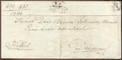 1844 Helyi hivatalos levélen sóbánya hivatali bélyegző Désakna