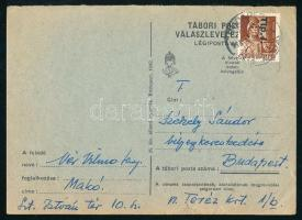 1946 (7. díjszabás) Távolsági levelezőlap Betűs Tlp.I./4f bélyeggel, a 6. díjszabás szerint bérmentesítve