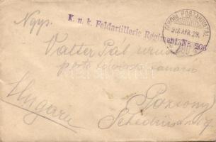 1918 Levél K.u.k. Feldartillerie Regiment Nr. 206 TP 290 - Pozsony