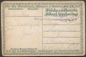 1917 Képeslap Batterie No. 1. des K.u.k. Feldkanonenregimentes TP 632b