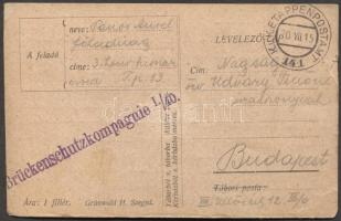 1916 Levelezőlap Brückenschutzkompagnie I./40. EP 141