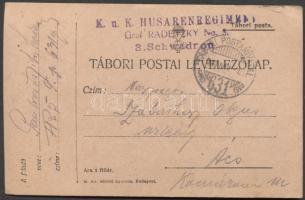 1917 Levelezőlap K.u.K. Husarenregiment TP 631