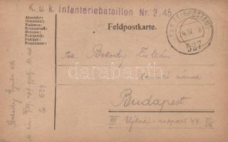 1918 Levelezőlap K.u.k. Infanteriebataillon Nr. 2/45. FP 527