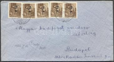 1946 (7. díjszabás) Távolsági levél 5x Tl.I./10f bérmentesítéssel