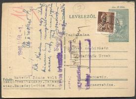 1946 (7. díjszabás) Távolsági (díjjegyes) levelezőlap Tlp.2./4f bérmentesítéssel