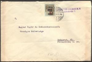 1946 (7. díjszabás) helyi levél Hl.2./40f bérmentesítéssel