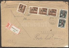 1946 (7. díjszabás) Ajánlott távolsági levél 4x Betűs Tlp.2./4f + 2x Any.2./1f bérmentesítéssel, a posta meg nem találása miatt visszaküldve.