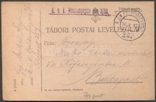 1915 Levelezőlap K.u.k. Feldradiostation No. 25. FP 314