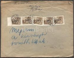 1946 (7. díjszabás) Távolsági levél 5x Tl.I./10f bérmentesítésel