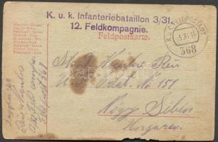 1916 Levelezőlap K.u.k. Infanteriebataillon 3/31. 12. Feldkompagnie. FP 368