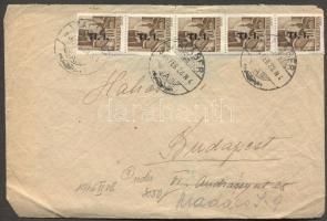 1946 (7. díjszabás) Távolsági levél 5x Betűs Tl.I./10f bérmentesítéssel (leszakadt hajtóka)