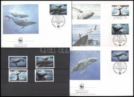 1996 WWF: hosszúszárnyú bálna sor Mi 1400-1403 + 4 FDC (pici gumi hiba)