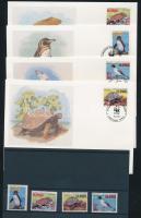 1992 WWF: Galápagosi állatok Mi 2207-2209, 2212 + 4 FDC (pici gumi hiba)