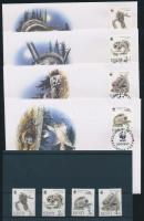 1994 WWF: Repülő mókus sor Mi 229-232 + 4 FDC (egyik boríték hátán pici hiba)