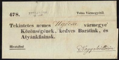 1843 Hivatalos levél SZEKSZÁRD. - Nagy Szőllős