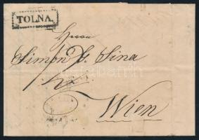 1842 Portós levél, tartalommal / cover with postage due, with content TOLNA - WIEN