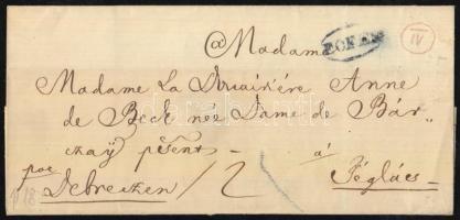 ca 1840 Portós levél kék F.OFEN - Téglás