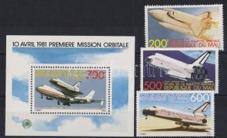 1981 Columbia űrrepülőgép sor Mi 872-874 + blokk Mi 18