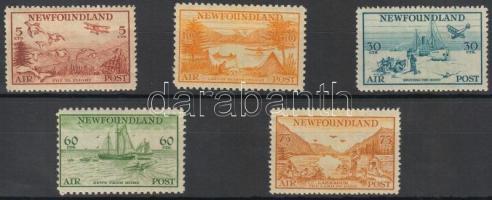 1933 Forgalmi bélyeg sor / Definitive stamp set Mi 194-198 (Mi 194 pici betapadás, törés / small gum disturbance, folded)