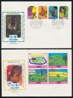 Niger, Pakisztán, Pápai Új-Guinea klf sorok FDC-n Mi 377-380, 496-499, 659-661 + Niue blokk FDC-n Mi 15