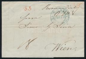 1844 Ajánlott portós levél / registered cover with postage due, zöld / green RECOMENDIRT / PESTH
