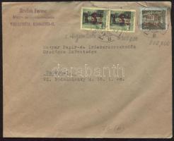 1946 (14. díjszabás) Távolsági levél 2x Betűs III. Nyomtatvány 20gr/60f + Helyi levelezőlap/20f bélyegekkel jóval alulbérmentesítve