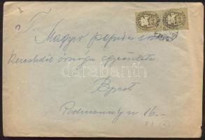 1946 (14. díjszabás) Helyi céges levél Lovasfutár 2x 640eP bélyeggel kicsivel túlbérmentesítve
