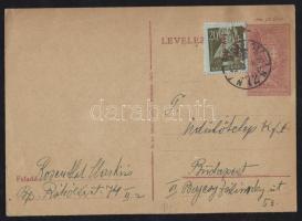 1946 (14. díjszabás) Helyi levelezőlap (12f díjjegyes) Betűs III. Helyi lev.lap/20f bélyeggel (alatta egy korábban felragasztott bélyeg)
