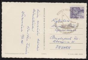1961 Képeslap a rostock-warnemündei Finndinghy EB bélyegzésével