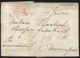 1830 Portós levél / cover with postage due, piros / red GROS= / CANISA - Theresienfeld