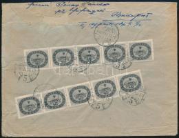1946 (16. díjszabás) Távolsági ajánlott levél 250g-ig 2 klf Milliós értékkel (20 db bélyeg) bérmentesítve (a hajtókán kisebb szakadások)
