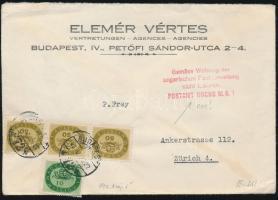 1946 (16. díjszabás) Levél Zürichbe Milliós 10millióP + 3x 50millióP kicsit bérmentesítve