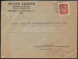 1946 (19. díjszabás) Helyi céges levél Milpengős 3000mP bélyeggel (kissé túl-)bérmentesítve