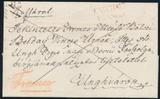 1838 Franco, piros / red CASCHAU / FRANCO (Gudlin 500 pont) - Unghvár