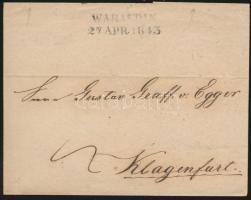 1843 Portós levél / cover with postage due WARASDIN - KLAGENFURT