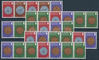 1979/1982 Érmék klf összefüggésekben hat db stecklapon Mi 174-176, 178, 180, 184