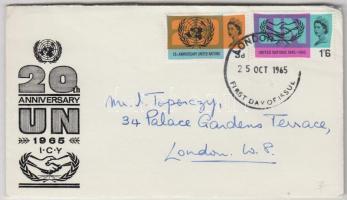 1965 20 éves az ENSZ Mi 404y-405y foszforos FDC