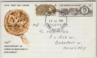 1965 Simon de Montfort parlamentje Mi 386y (foszforos) + 387x FDC