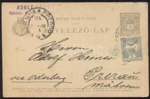 1901 Díjkiegészített díjjegyes levelezőlap Morvaországba