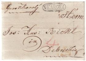 1827 Portós levél / cover with postage due N:KÁROLY - Debreczin