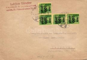 1946 (6. díjszabás) Helyi levél 4x Kisegítő 100P/12f bérmentesítéssel