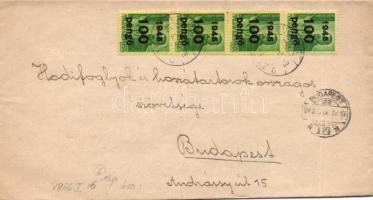1946 (6. díjszabás) Helyi levél 4x Kisegítő 100P/12f négyescsík bérmentesítéssel
