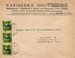 1946 (6. díjszabás) Helyi levél 3x Kisegítő 100P/12f bélyeggel jelentősen alulbérmentesítve