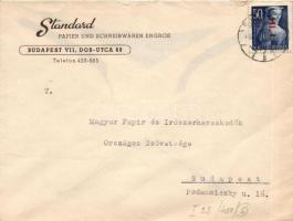 1946 (6. díjszabás) Helyi céges levél Betűs I. Hl.I./50f bérmentesítéssel