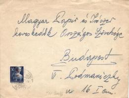 1946 (6. díjszabás) Helyi levél Betűs I. Hl.I./50f bérmentesítéssel