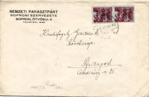 1946 (6. díjszabás) Távolsági levél 2x Kisegítő 300P/30f bérmentesítéssel