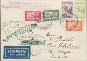 Zeppelin magyarország- németországi útja levelezőlap Zeppelin bélyegek helyett 1927 Légiposta bérmentesítéssel Zeppelin flight from Hungary to Germany postcard franked with airmail stamps instead of Zeppelin stamps