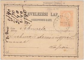1873 Díjjegyes levelezőlap (ZS)ADÁNY ABAÚJM - Kassa