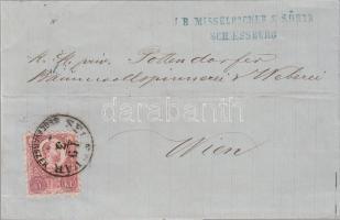 1872 Réznyomat 5kr levélen / Mi 10 on cover SEGESVÁR SEGESVÁRSZÉK - WIEN