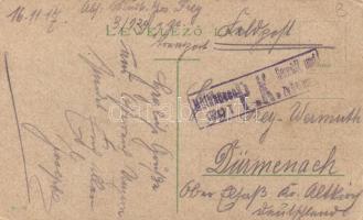 1917 Képeslap Budapestről tábori postával Németországba, ott cenzúrázva
